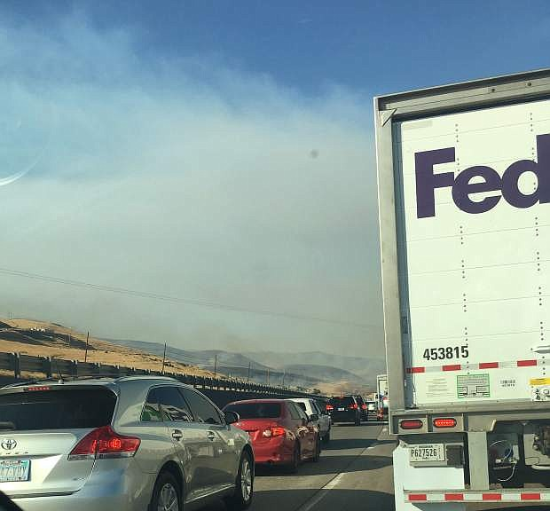Motorists lined up for miles after Interstate 80 was shut down Monday evening due to smoke and poor visibility.