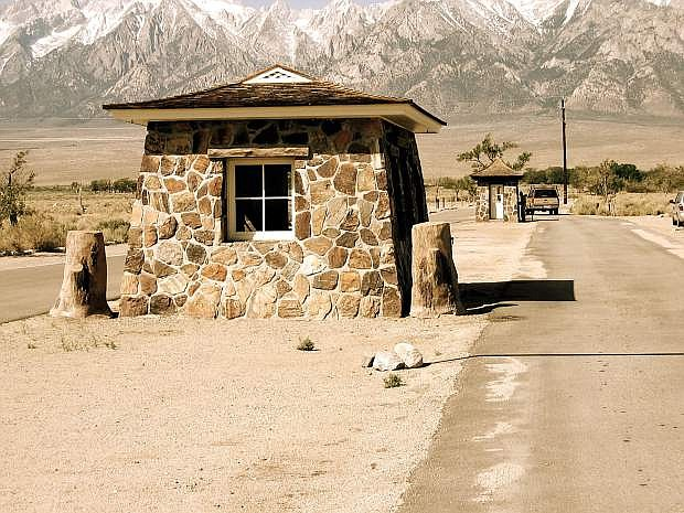 One of the stone sentry posts still standing at the Manzanar Historic Site in eastern California.