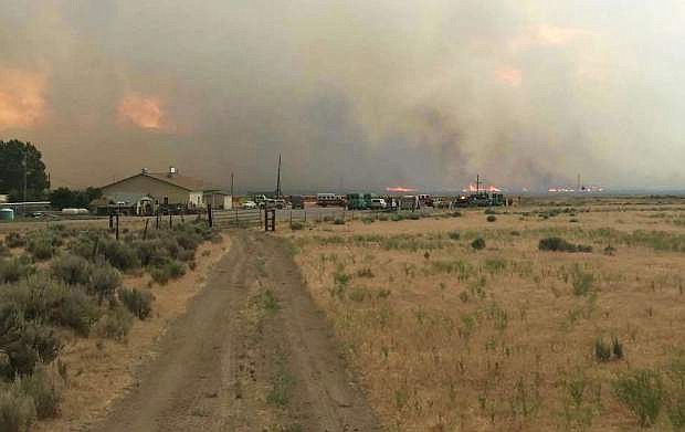 Fire approaches ranches near Cold Springs.
