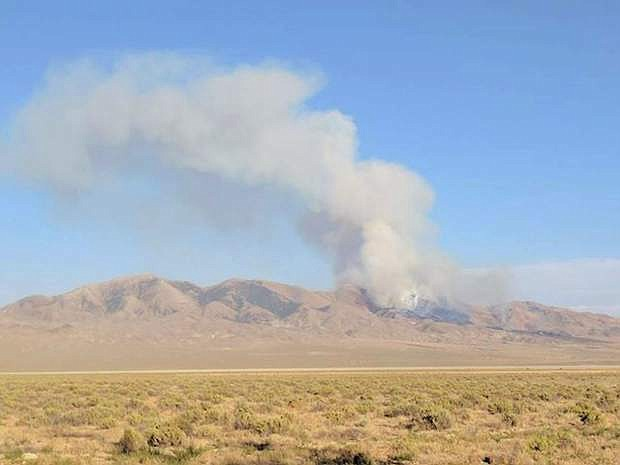 A fire broke out south of Fairview Peak Wednesday afternoon on the Navy's Bravo 17 training range.This photograph was taken at 7:16 p.m.
