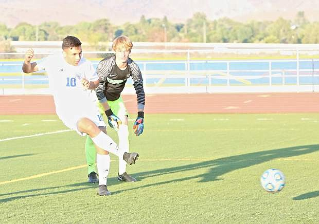 Senator senior Adrian Torres scores the first goal of the game against Reno Wednesday evening.