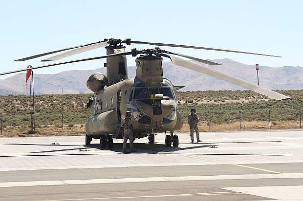 Nevada National Guard CH-47 Chinook helicopter. Eight crew members took off in a CH-47 Chinook helicopter Wednesday to help Hurricane Harvey victims.