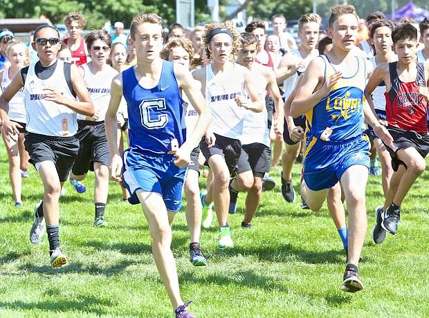 Carson High freshman Parker Lehmann takes off from the starting line of the freshmen class event at Lampe Park Friday afternoon in Gardnerville.
