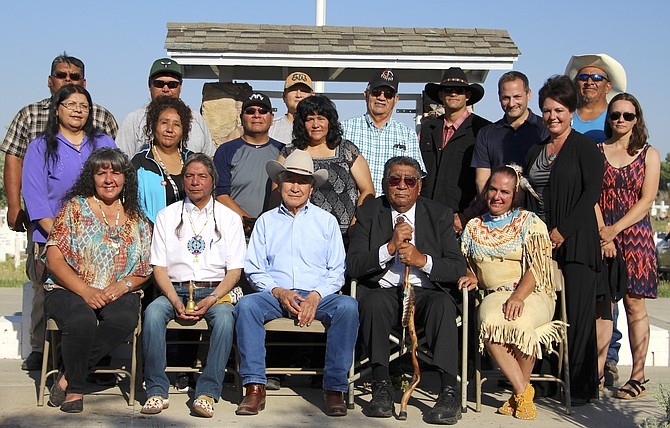 Members of the Fallon Paiute-Shoshone Tribe, back row, from left: Joey Allen, Scott Downs, Steven Stirniman, Ted Howard, Terry Gibson Jr., Brian Chestnut and Ray Allen; second row, from left: Leslie Steve, Michon Eben, Steve Austin, Laura Ijames, Yvonne Mori and Beth Baldwin; front row, from left: Donna Cossette, Armand Menthorn, Alvin Moyle, Ashley George and Rochanne Downs.