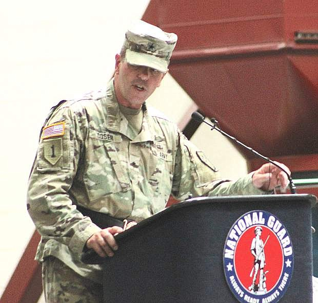 Brg. Gen. Zachary Doser addresses soldiers and guests at Sunday's change of command ceremony in Reno.