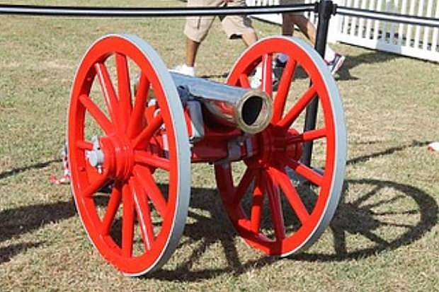 Cannon painted Rebel Red