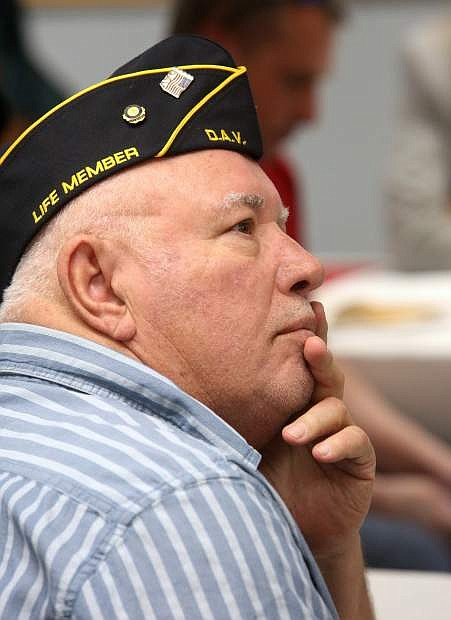 Veteran Frank Dias listens to a guest speaker at the Carson City Disabled American Veterans meeting.