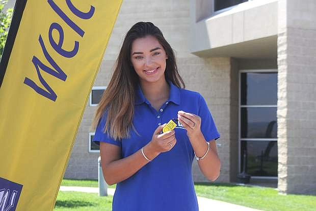 Western Nevada College student Alexis Rodriguez presents the eAlarm sound grenade, a safety device that WNC has been passing out to students.