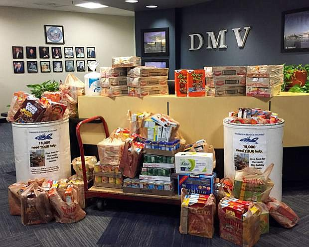 Nevada Department of Motor Vehicles employees donated 550 pounds of food to the food drive in August in Carson City. A total of 2,722 pounds of fresh produce and nonperishable food was donated for the hungry.