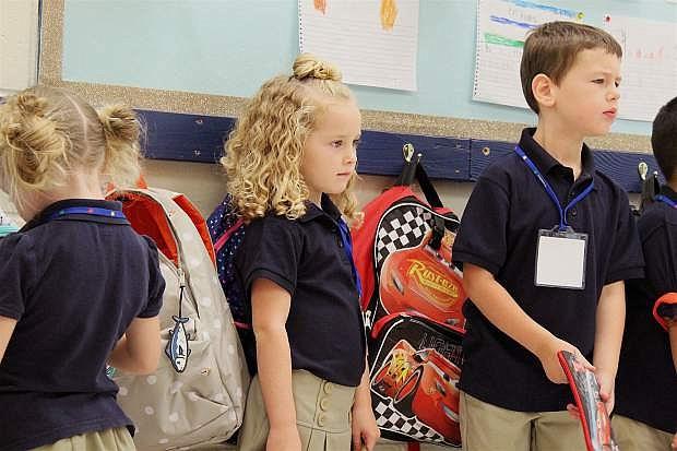 "Oasis kindergarteners on their ""practice day"" recently."