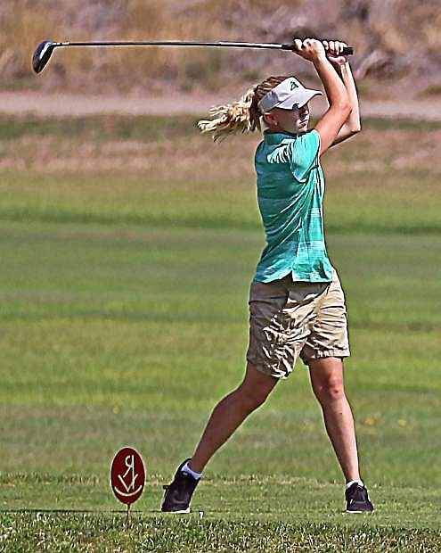 Allison Lister shoots her ball down the course during a two-day tournament in Elko and Spring Creek.