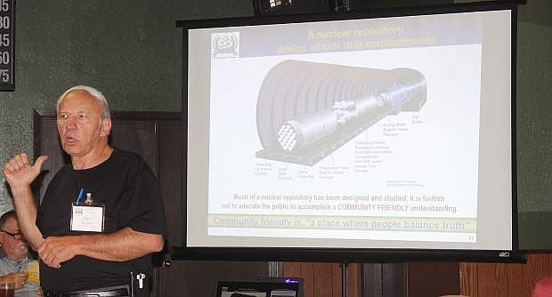 Gary Duarte, director and founder of the U.S. Nuclear Energy Foundation, said Wednesday at the Churchill County Central Republican Committee monthly meeting a nuclear storage repository should be revitalized at Yucca Mountain.