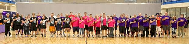 All the Dodge For A Cause teams stand for the playing of the National Anthem Thursday night at the MAC.