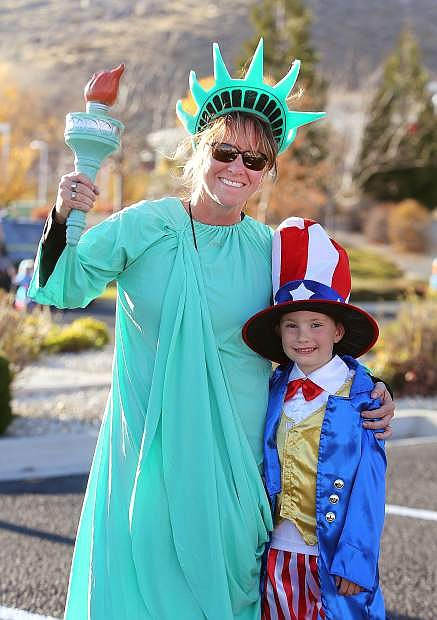 Annette Donnelly and her son Seth, 6, attend the Spooktacular event on Monday.