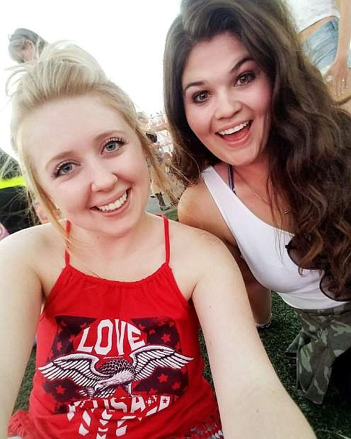 Former UNR graduate Nicole Kowalewski (left) and her friend Brianna Freeman pose for a photo hours before the Route 91 shooting that left almost 60 people dead.