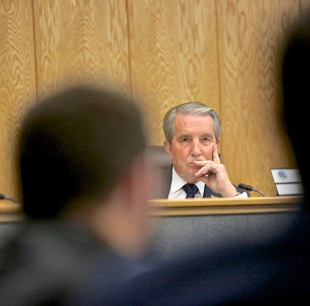Carson City Mayor Bob Crowell listens discussion concerning The Vintage project last December.