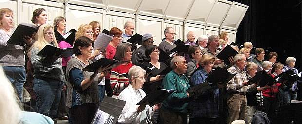 Carson City Symphony Chorus in rehearsal for previous Holiday Treat Concert.