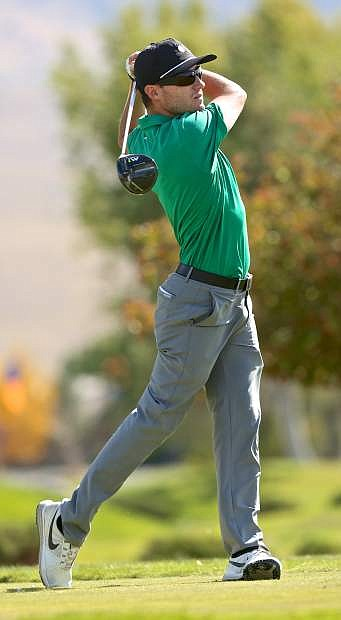 Eddie Olson of Aptos, Ca. tees off on the third Wednesday at Dayton Valley Golf Course.