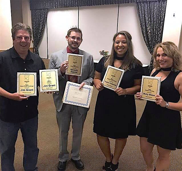From left, some of the Nevada Appeal winners of Nevada Press Association's 2017 Better Newspaper Contest: Photographer Jim Grant, Editor Adam Trumble, Reporter Taylor Pettaway, and Content Coordinator Molly Moser.
