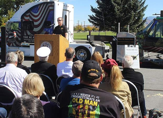 Carson City Mayor Bob Crowell delivers the keynote speech about Huey 174 and service In Vietnam.