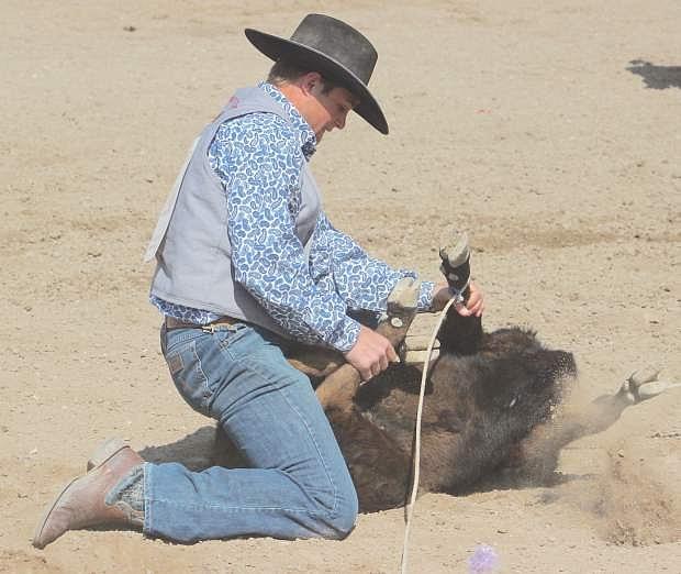 Matt Goings of Fallon looks confident in tie down roping at the Fallon Junior/Senior High School Rodeo.