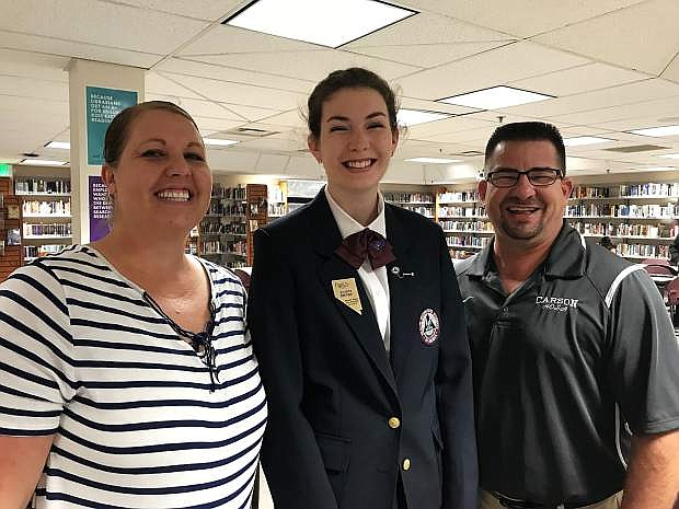 Carson High School CTE instructors and HOSA advisors along with CTE student and HOSA state officer, from left to right, Kelly Gustafson, Victoria Defilippi and Frank Sakelarios.