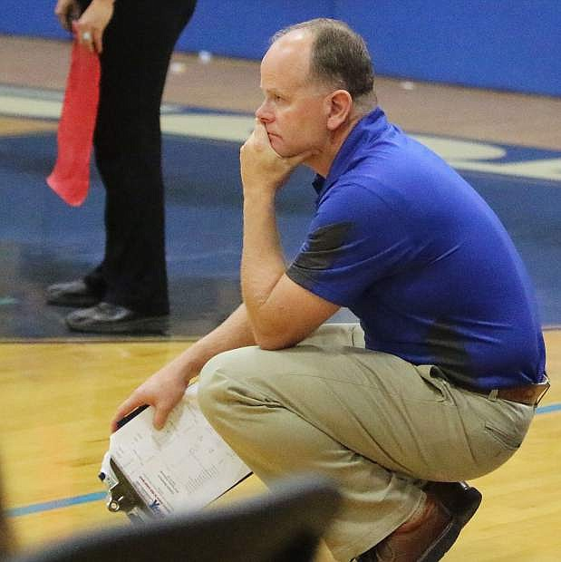 Carson head coach Robert Maw watches during the third game on Tuesday.