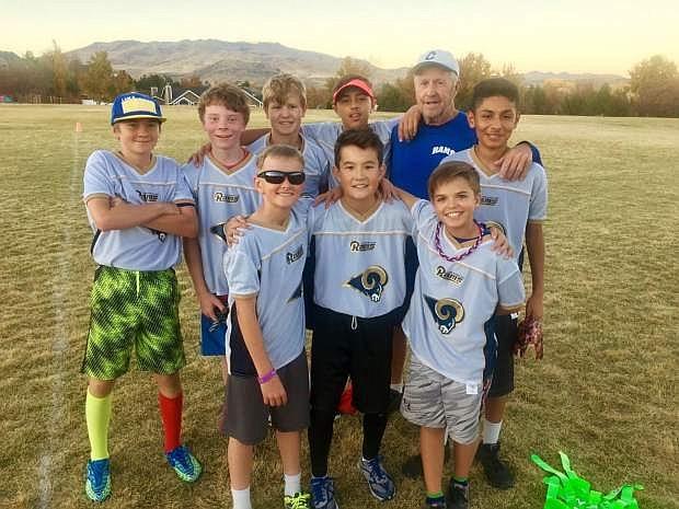 The Rams top row from left: Jacob Hanson, Connor Baker, Alex Myrehn, Coach Ralph Myrehn, Job Gutierrez Bottom from left: Nate Peterson, Trevor Britt, Keagan Ferris.