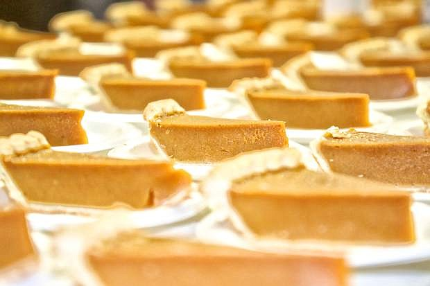 Slices of pumpkin pie waiting to be consumed at the Carson Nugget Thursday.