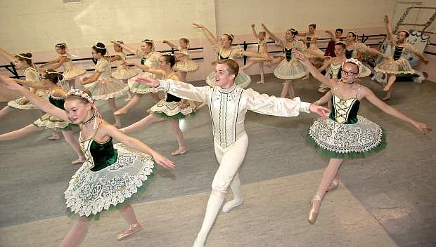 Cast members of Pinkerton Ballet's The Nutcracker rehearse for last year's production.