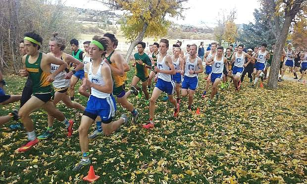 The Carson High boys cross country team competes at the Northern 4A Sierra League Championships on Friday.