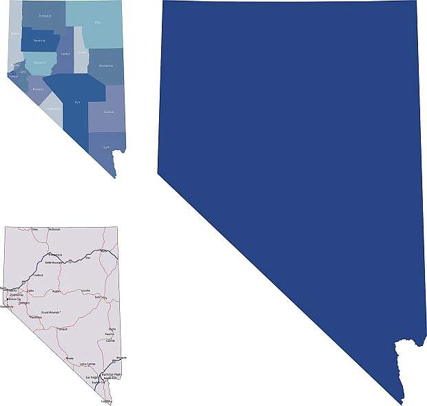 illustration of Nevada state map with road map for your design and products.