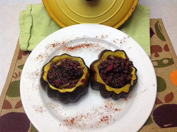 Stuffed acorn squash by Tina Galhaut.