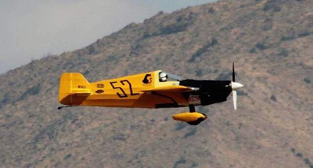 "Steve Tumlin of Carson City flies his '79 Cassutt IIIM aircraft, ""Fesity"", to compete in Air Race 1 World Cup competiton."