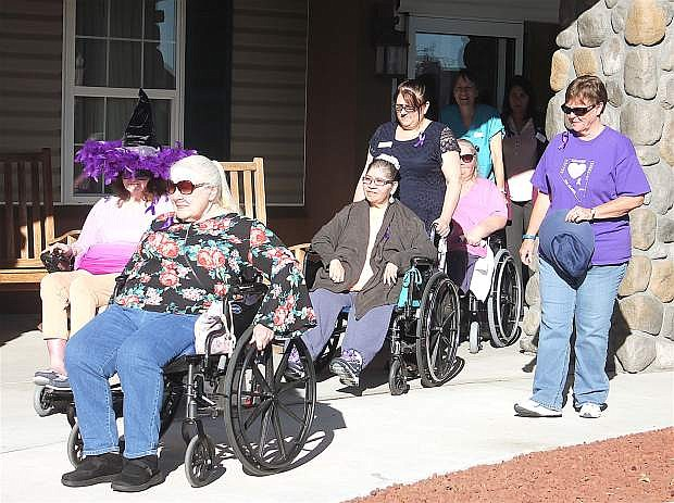 Judy McPherson, Brenda Royer, Winona Brady, Tammy Parkerson, Janet Young, Amy Hann, Teenah Beland and Melissa Espinoza set out for their walk around the block. The group set up the walk to raise awareness of Alzheimer's Disease for National Alzheimer's Month.