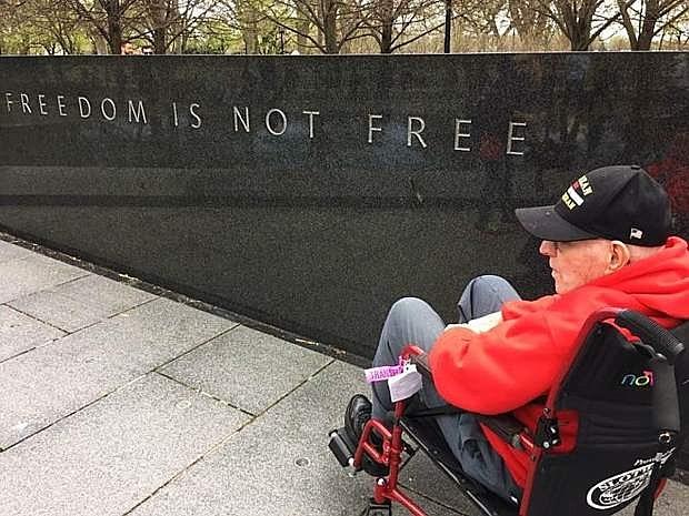 Korean War veteran John Dottei participated in an Honor Flight Nevada in 2016. Photo courtesy of Rebecca Kitchen