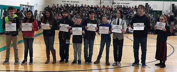Churchill County Middle School Students of the Months for November and December include, from left, Justin Flowers (7th), Corel Escartin (7th), Crystal Ballesteros-Tapia (8th), Gio Iacometti (7th), John Muller (6th), Victor Castanon (6th), Amelia Bateman (6th), Demetrius Martell (8th), Clifford Spaletta (8th), and Sierra Mesloh (6th). Not pictured: Carrie Brown (8th) and Jodie Gibbons (7th).