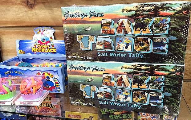 """""""Greetings From Lake Tahoe"""" salt water taffy is available, among other locations, at this Powder House Ski & Snowboard shop at The Gondola at Heavenly Village on the South Shore."""