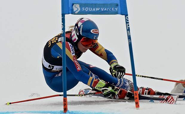 Mikaela Shiffrin, of Eagle-Vail, passes a gate during a World Cup giant slalom in Squaw Valley, California.