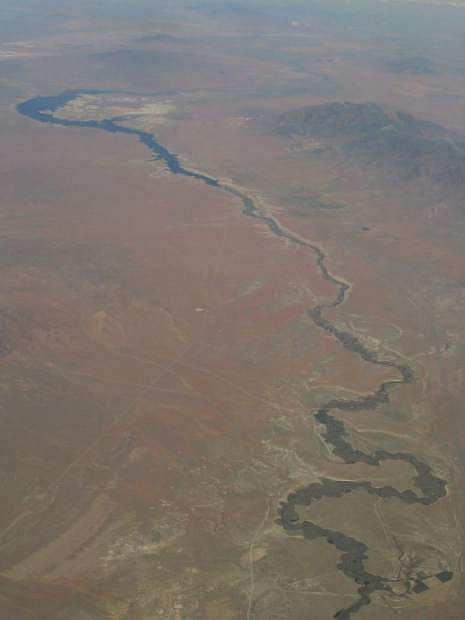 Aerial view of the Humboldt River, with all of its switchbacks and curves, near Rye Patch Reservoir.