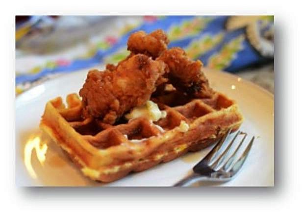 Pancetta pecan waffles, maple blueberry syrup and buttermilk fried chicken tenders by Cynthia Ferris-Bennett.