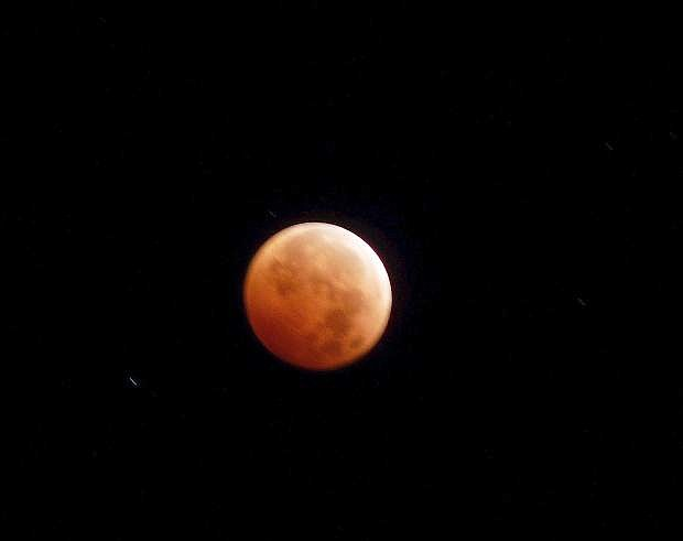 The blood moon over Genoa early on the morning of October of 2014.