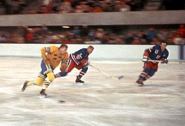 Team USA takes on Sweden during the 1960 Winter Olympics at Squaw Valley.