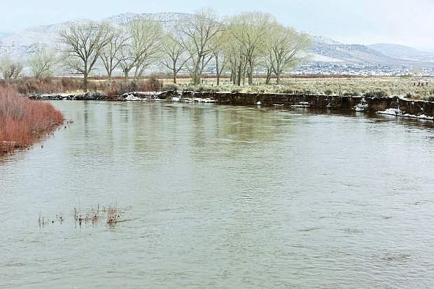 The swollen Carson River at the Cradlebaugh Bridge in January 2017.