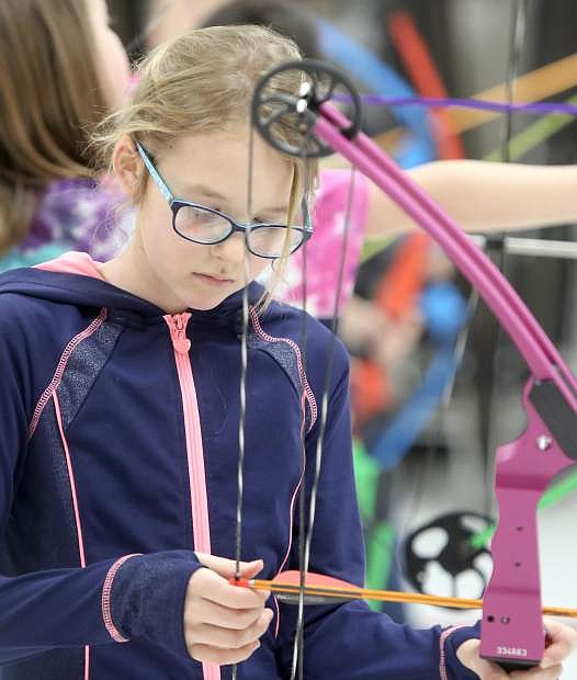 Eleanor Romero, a fifth grade student at Fritsch Elementary is a member of the school's archery team.
