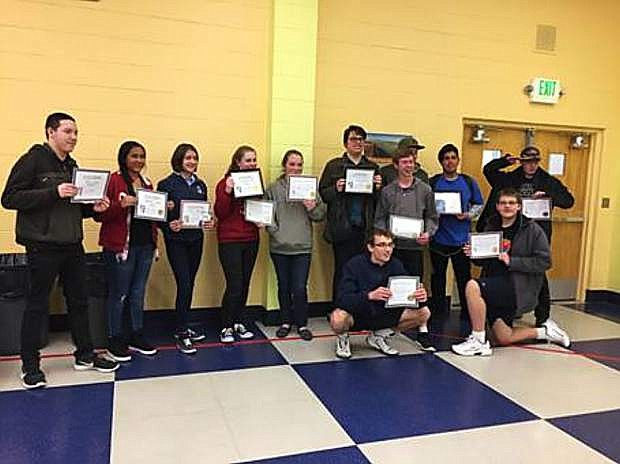A team of 12 students from Churchill County High School competed in the Northern Nevada Math Council Secondary Math Contest in Reno Feb. 3: Johnny Miller, Zachary Stewart, Johnathan Hernandez, Ben Jamieson, Erin Spaletta, Riley Urena, Jade Beland, Natalie Carrero, Cassie Webb, Alex Perazzo, Thomas Jamieson, and John Solomon.