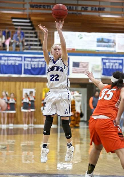 Carson senior Lauren Lemburg shoots a jumper against Douglas Friday night at Morse Burley Gymnasium.