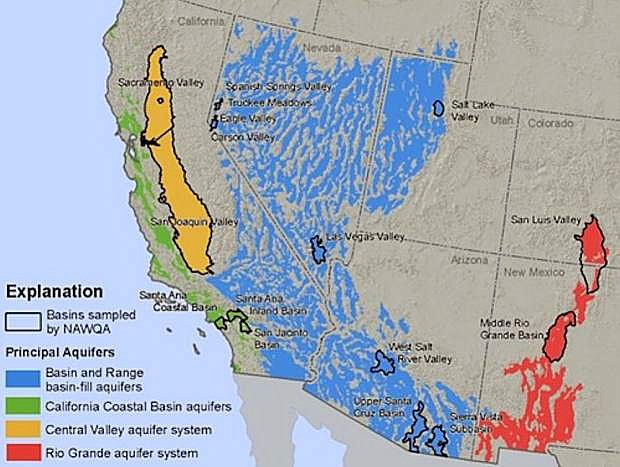 A regional assessment shows groundwater quality in the Great Basin and Range, Rio Grande, Coastal Basins and Central Valley Aquifer Systems of the Southwestern United States.