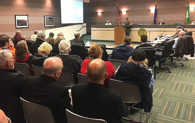 Kip Alexander of the United States Geological Survey presents an overview of the Carson River at a combined county commission meeting on Monday with representatives from Churchill and Lyon counties.
