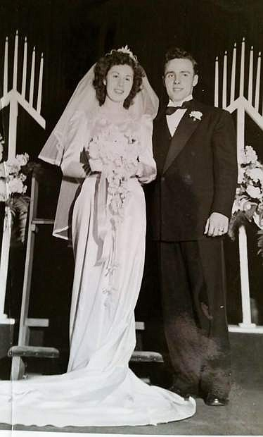 Marlin and Barbara Hancock on their wedding day, Feb. 8, 1948.